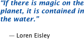 If there is magic on the planet, it is contained in the water.  -- Loren Eisley