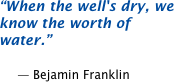 When the well's dry, we know the worth of water.  -- Benjamin Franklin