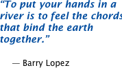 To put your hands in a river is to feel the chords that bind the earth together.  -- Barry Lopez